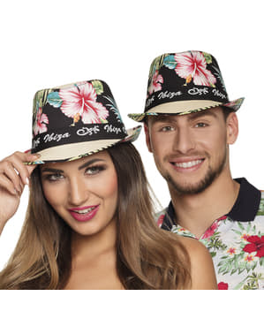 Ibiza hat with flowers for adults