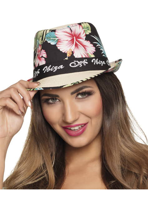Sombrero de Ibiza con flores para adulto - original