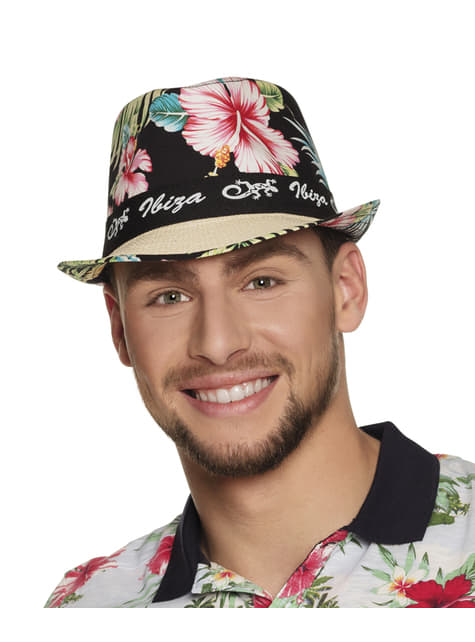 Sombrero de Ibiza con flores para adulto - barato