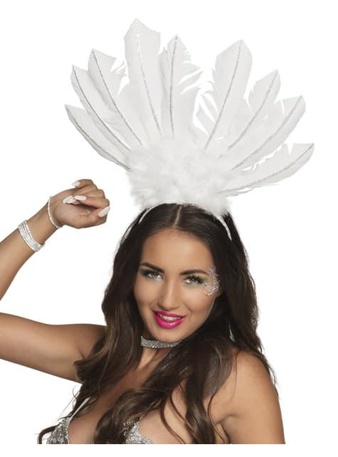 Tiara de carnaval brasileño blanca para mujer - para tu disfraz