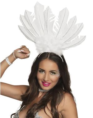 Biała ozdoba na głowę w stylu brazylijskiego karnawału dla kobiet