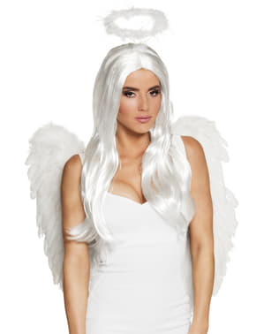 Hvit engel parykk til dame