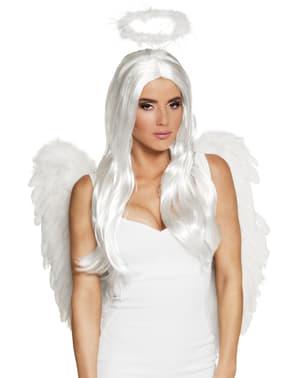 Peruca de anjo branca para mulher