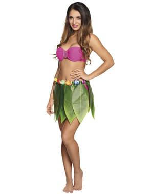 Falda hawaiana verde para adulto