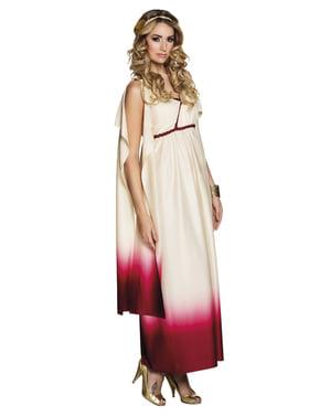 Fato de deusa grega branco e cor-de-rosa para mulher