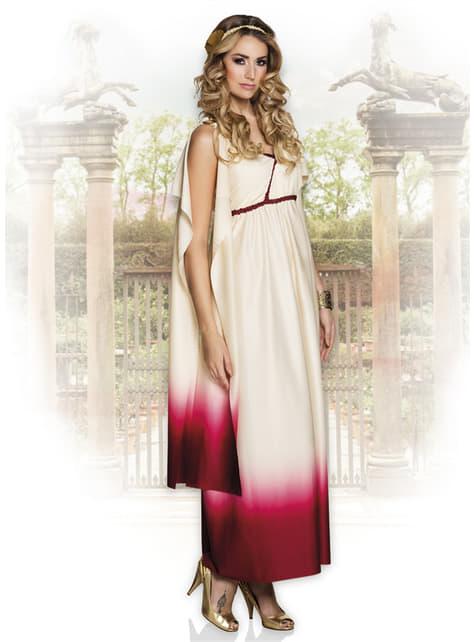 Hvit og rosa Gresk gudinne kostyme til dame