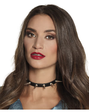 Punk choker with spikes for adults