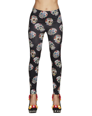 Black Day of the Dead leggings for women