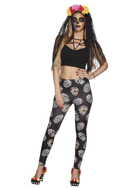 Black Day of the Dead leggings for women