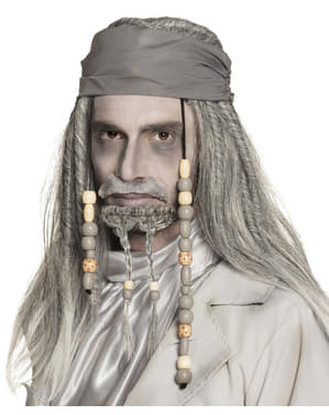 Peluca de pirata fantasma gris para adulto