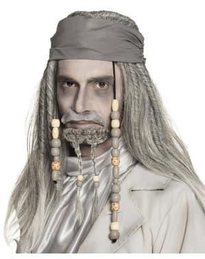 Peruca de pirata fantasma cinzenta para adulto