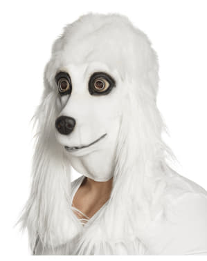 Máscara de cão Poodle branco para adulto