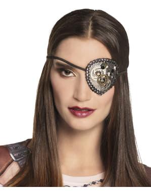 Steampunk Augenklappe silber für Erwachsene