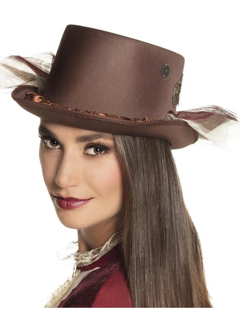Sombrero steampunk clásico marrón para adulto - para tu disfraz