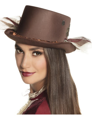 Klasická hnědý steampunkový klobouk pro dospělé