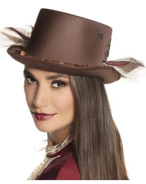 Sombrero steampunk clásico marrón para adulto