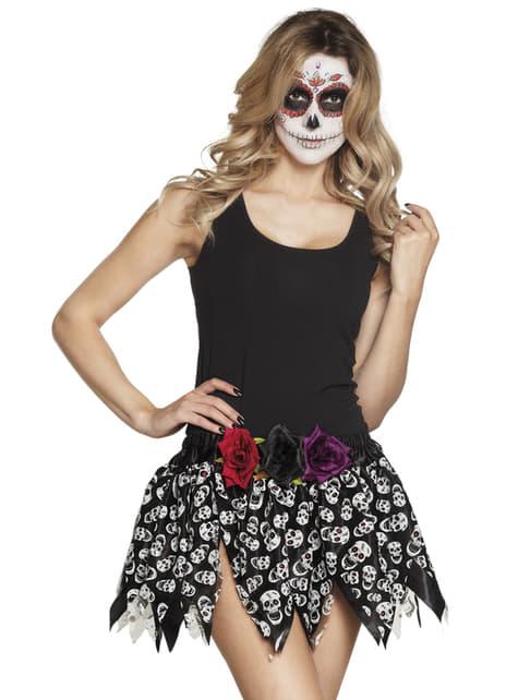 Falda de día de los muertos negra para mujer - para tu disfraz