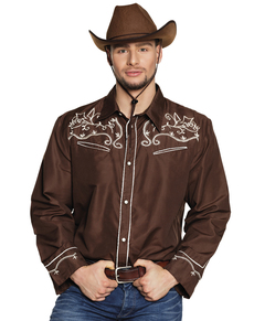 Kovbojská košile pro dospělé hnědá e61bb365c1
