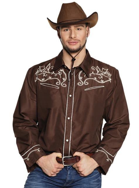 Bruin cowboy shirt voor volwassenen