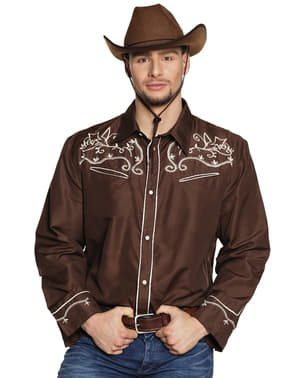 Camicia da cow boy marrone per adulto