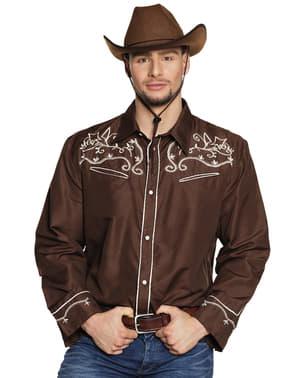 Camisa de cowboy castanha para adulto