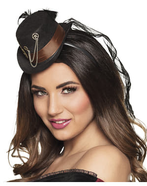 Black Steampunk mini hat with cogs for adults