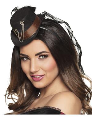 Mini chapéu steampunk de rodas dentadas preto para adulto