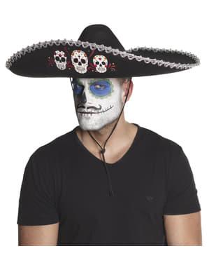 Sombrero de mariachi día de los muertos para adulto