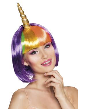 Einhorn Perücke lila für Damen