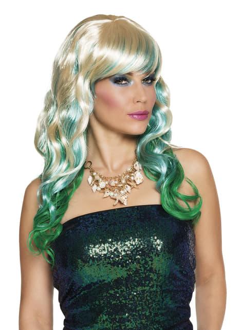 Peruca de sereia verde para mulher