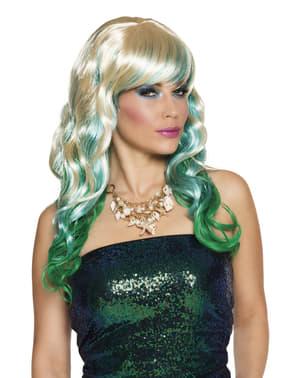 Peluca de sirena verde para mujer