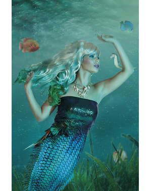 Grøn havfrue paryk til kvinder