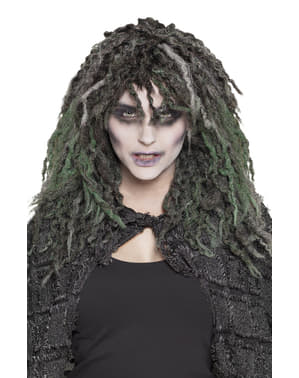 Peruca de bruxa tenebrosa para mulher