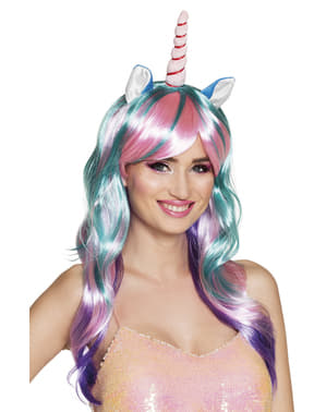 Long multicoloured unicorn wig for women