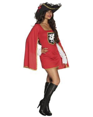 Musketier Kostüm rot für Damen