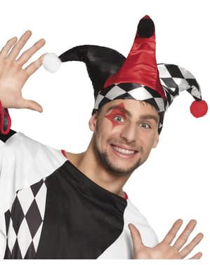 Harlekin Mütze rot-schwarz für Erwachsene