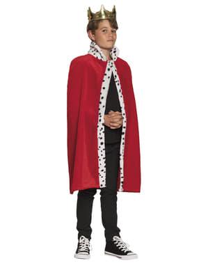 Capa de rei vermelha para menino
