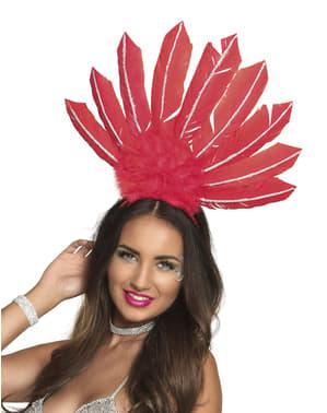 Czerwona ozdoba na głowę w stylu brazylijskiego karnawału dla kobiet
