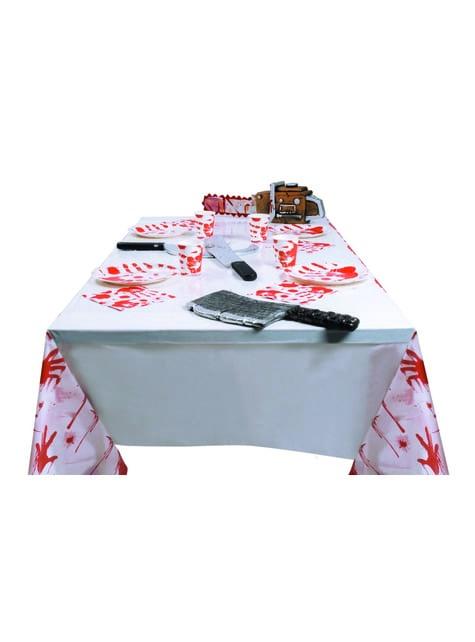 Față de masă cu mâini însângerate