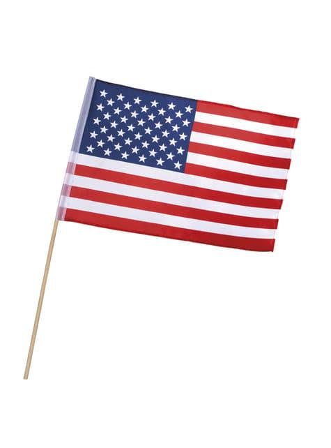 Amerikaanse vlag met stok
