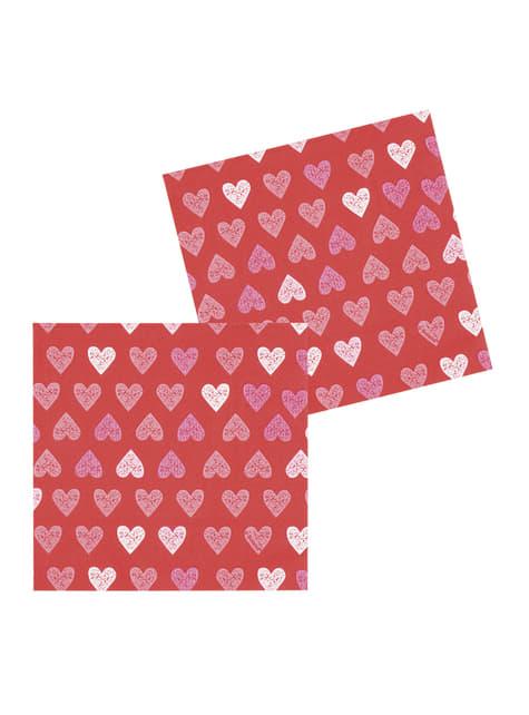12 Serviettes en papier cœurs