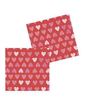 12 guardanapos de corações (33x33 cm)