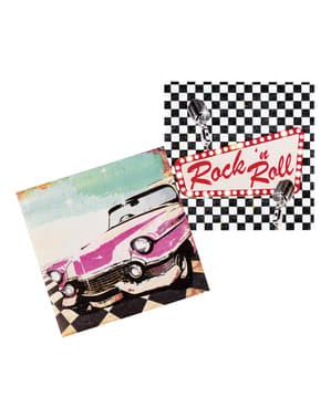12 Rock n' Roll servetten (33x33 cm)