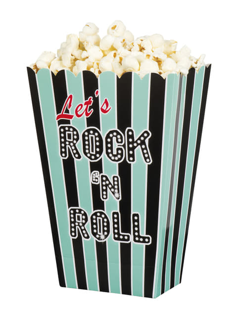 4 cajas para palomitas Rock n' Roll (22 x 15 x 2 cm)