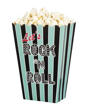 4 boîtes à Popcorn Rock n' Roll (22 x 15 x 2 cm)