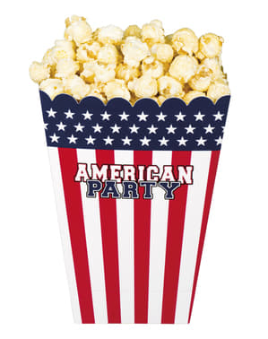 Zestaw 4 pudełek na popcorn - American Party