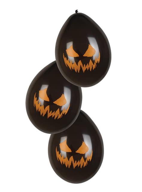 Conjunto de 6 balões Creepy Pumpkin