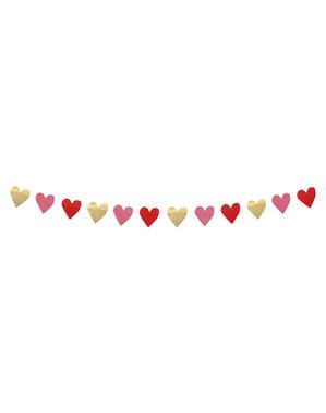 Multicoloured hearts garland