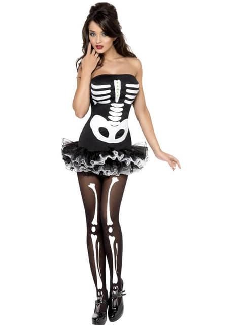 Sexy skelet kostuum voor dames