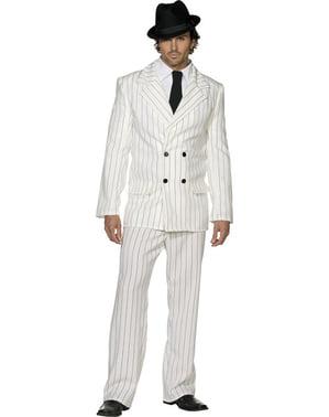 Costum de gangster alb Fever pentru bărbat